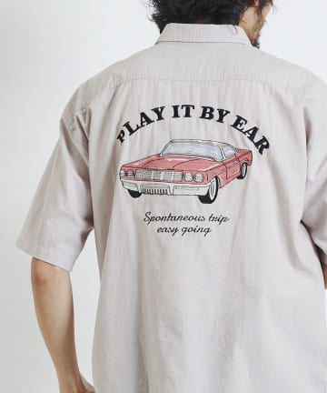 CPCM(シーピーシーエム) ダンガリーバック刺繍半袖シャツ