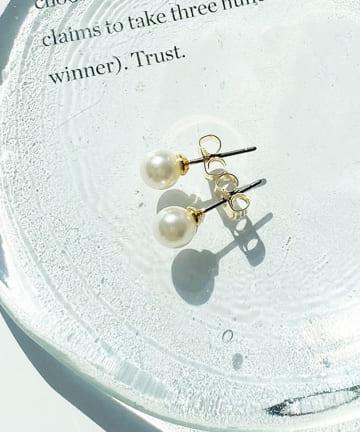 Lattice(ラティス) シンプルパールピアス