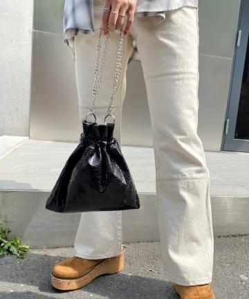WHO'S WHO gallery(フーズフーギャラリー) ミックスチェーン巾着BAG