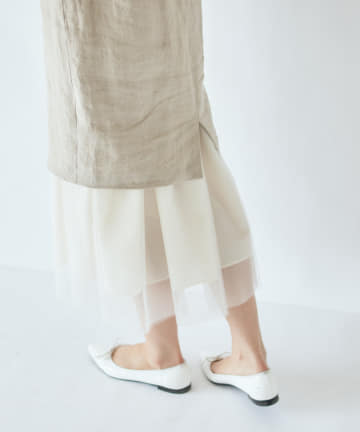 La boutique BonBon(ラブティックボンボン) 《予約》【洗える】重ねチュールリネンスカート