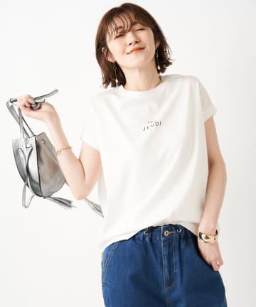 un dix cors(アンディコール) 【大人の女性におすすめ】シルケットフレンチロゴTシャツ