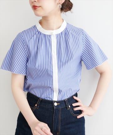 natural couture(ナチュラルクチュール) 【WEB限定】パール釦ポイントストライプブラウス