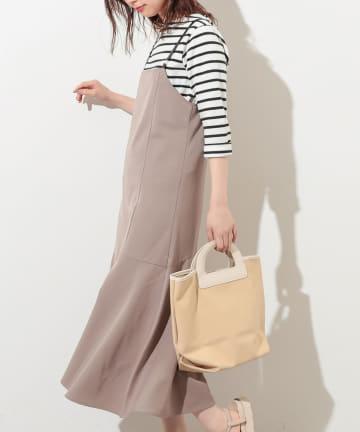 NICE CLAUP OUTLET(ナイスクラップ アウトレット) 【natural couture】合皮サス付マーメイドジャンバースカート