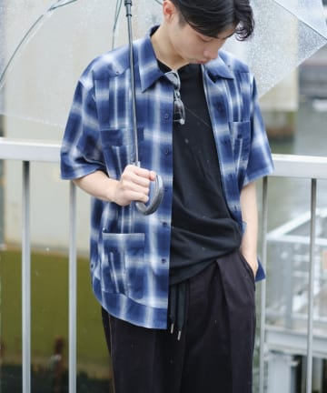 Kastane(カスタネ) 【WHIMSIC】GUAYABERA S/S−OMBRE CHECK