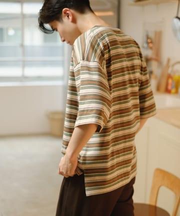 Kastane(カスタネ) 【WHIMSIC】MULTI BORDER TRIM T-SHIRTS