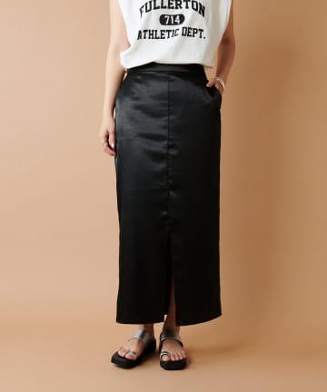 COLLAGE GALLARDAGALANTE(コラージュ ガリャルダガランテ) 【すっきりコンパクトに】ヴィンテージサテンタイトスカート