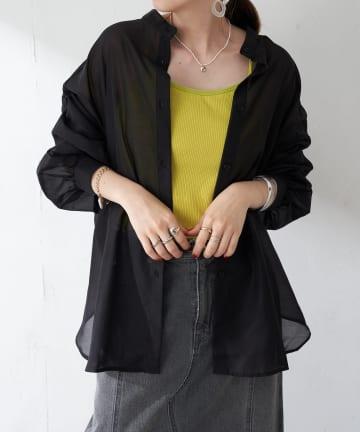 Discoat(ディスコート) 【WEB限定】袖ボリュームシアーシャツ
