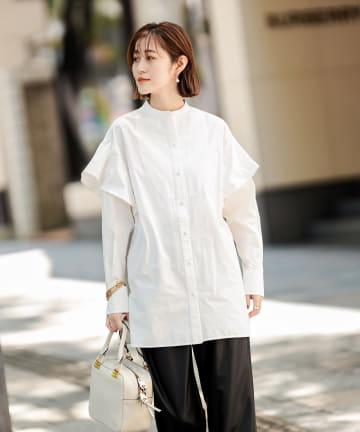 RIVE DROITE(リヴドロワ) 【纏うだけで最旬スタイルに導いてくれる】フリルスリーブコットンシャツ