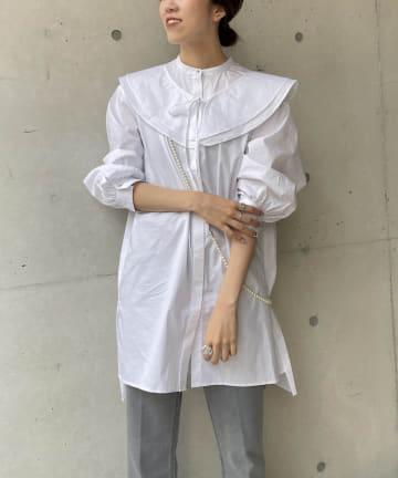 CAPRICIEUX LE'MAGE(カプリシュレマージュ) フリル襟付チュニックシャツ