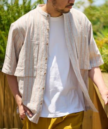 CIAOPANIC TYPY(チャオパニックティピー) 麻レーヨンストライプ半袖シャツ