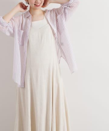 natural couture(ナチュラルクチュール) Wポケットシアーシャツ