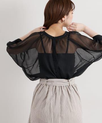 natural couture(ナチュラルクチュール) 【WEB限定】シアーギャザーブラウス