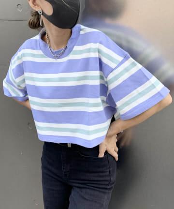 RASVOA(ラスボア) モックネックボーダーショートTシャツ