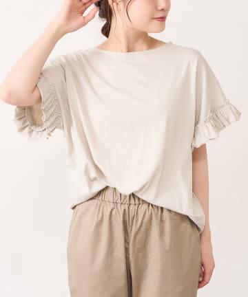 pual ce cin(ピュアルセシン) 【WEB限定・Du noir】防水・防油・UV機能素材袖フリルTシャツ