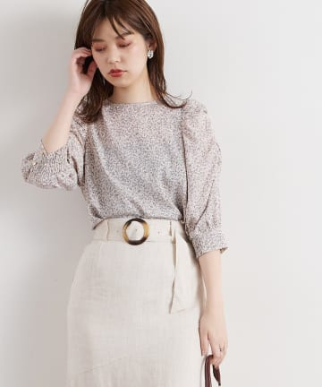 natural couture(ナチュラルクチュール) 袖ギャザースリーブブラウス