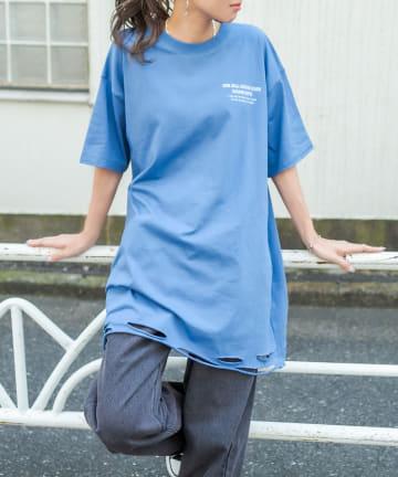RASVOA(ラスボア) シンプルダメージオーバーTシャツ