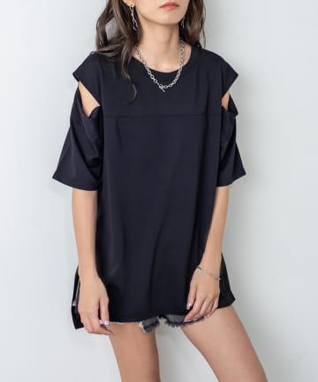 RASVOA(ラスボア) ショルダーカッティングスリットTシャツ