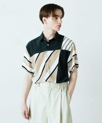 Lui's(ルイス) モザイクパターンストライプs/sシャツ