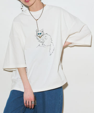 NICE CLAUP OUTLET(ナイスクラップ アウトレット) 【NUNIFE×Ran】RAN コラボ猫T