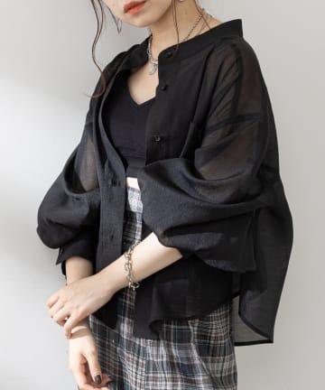 who's who Chico(フーズフーチコ) 【Web限定】5分袖シアーブロッキングシャツ