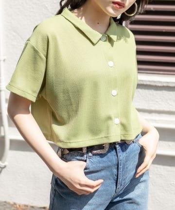 RASVOA(ラスボア) ワッフルショートポロシャツ