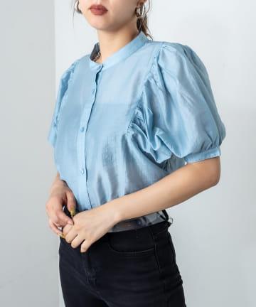 RASVOA(ラスボア) ボリューム袖バンドカラーシャツ