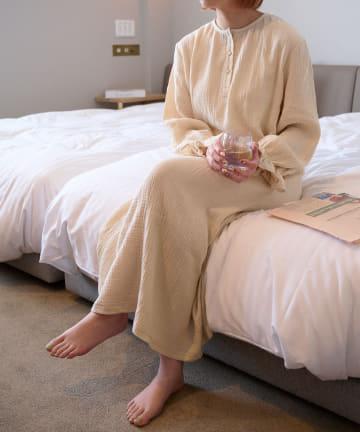 Lattice(ラティス) 【可愛く過ごすおうち時間】ボリュームスリーブワンピースルームウェア