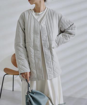 DOUDOU(ドゥドゥ) 【WEB限定】パターンミックスキルティングハーフジャケット