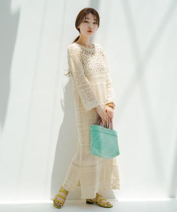 Kastane(カスタネ) かぎ針パッチワーク編み7分袖ワンピース