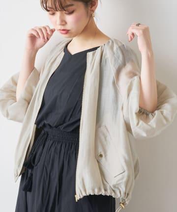 natural couture(ナチュラルクチュール) ちょっとモードなたっぷりギャザーシアーブルゾン