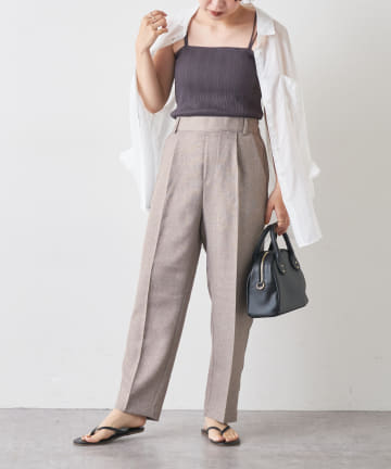 natural couture(ナチュラルクチュール) 【おうちで洗える!】リネン見え美シルエットパンツ
