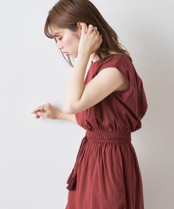 natural couture(ナチュラルクチュール) ウエスト絞りワンピース