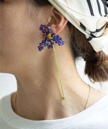 GALLARDAGALANTE(ガリャルダガランテ) 【HELENA THULIN】フラワーロングピアス/パープル/片耳用