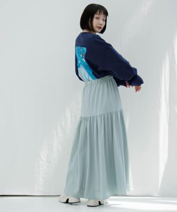 OUTLET(アウトレット) 【Kastane】タイプライターストレッチティアードスカート