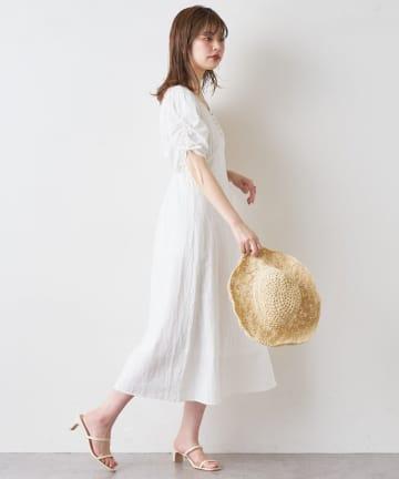 natural couture(ナチュラルクチュール) 【WEB限定】袖くしゅリボンスッキリAラインワンピース