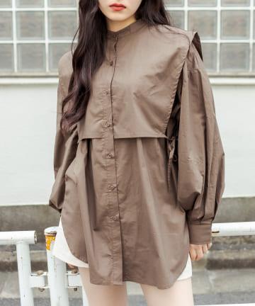RASVOA(ラスボア) ノーカラージレコンビシャツ