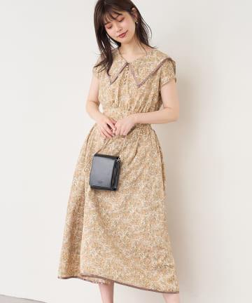 natural couture(ナチュラルクチュール) 【WEB限定】配色セーラーカラーガーリーワンピース