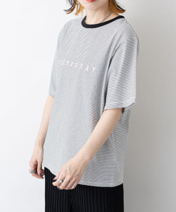 NICE CLAUP OUTLET(ナイスクラップ アウトレット) ロゴpt 細ボーダーT
