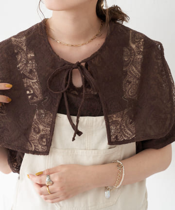 Discoat(ディスコート) 【WEB限定】ペイズリー刺繍シアーセーラーブラウス