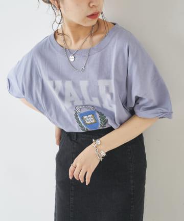 who's who Chico(フーズフーチコ) YALEカレッジロゴプリントTシャツ