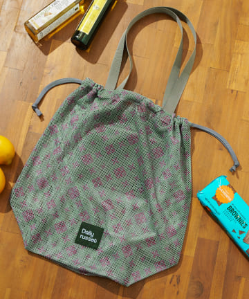 Daily russet(デイリー ラシット) モノグラムメッシュエコ巾着バッグ