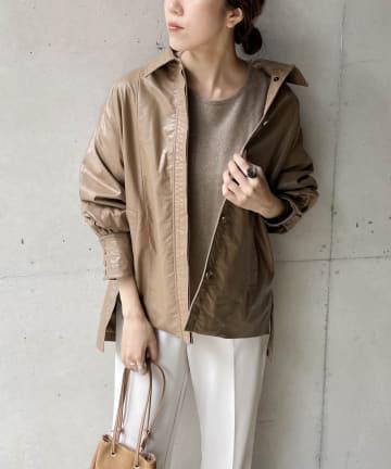 CAPRICIEUX LE'MAGE(カプリシュレマージュ) ソフトエコレザーシャツジャケット
