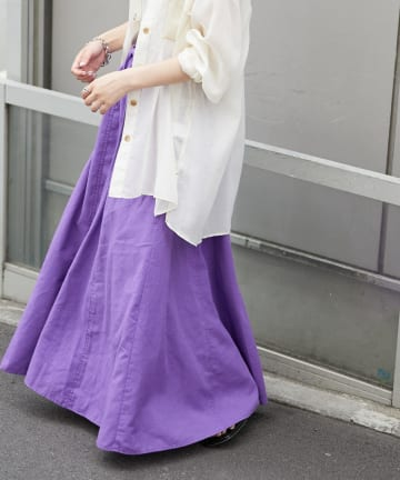 CIAOPANIC TYPY(チャオパニックティピー) 麻混ダブルステッチフレアスカート