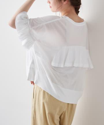pual ce cin(ピュアルセシン) 【サステナブル】オーガニック天竺フリルTシャツ