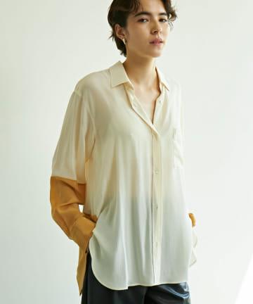 GALLARDAGALANTE(ガリャルダガランテ) バイカラーシルクシャツ