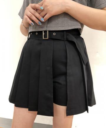 RASVOA(ラスボア) ベルト付レイヤードミニプリーツスカート