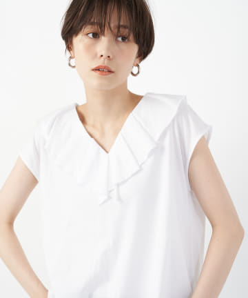 un dix cors(アンディコール) 【大人フェミニンな印象】衿フリルマーゼライズコットンカットソー