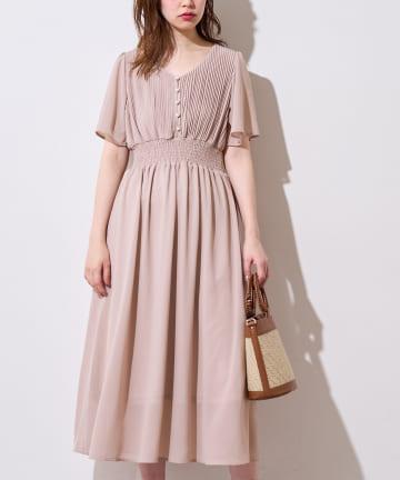 natural couture(ナチュラルクチュール) フレアスリーブお上品ワンピース