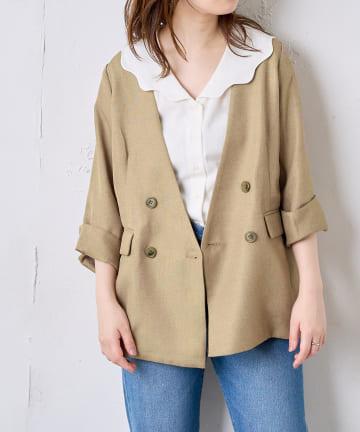 natural couture(ナチュラルクチュール) 【おうちで洗える!】リネン見えノーカラージャケット