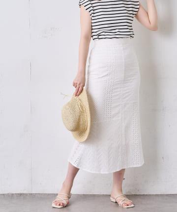 natural couture(ナチュラルクチュール) 【WEB限定】オーバーレースパッチワークスカート